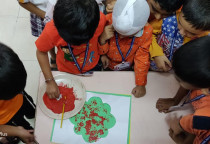 Orange Day-Paper Texture Printing Activity(Sr.KG)